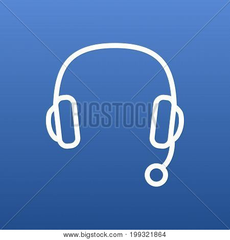 Vector Headphone Element In Trendy Style.  Isolated Headset Outline Symbol On Clean Background.