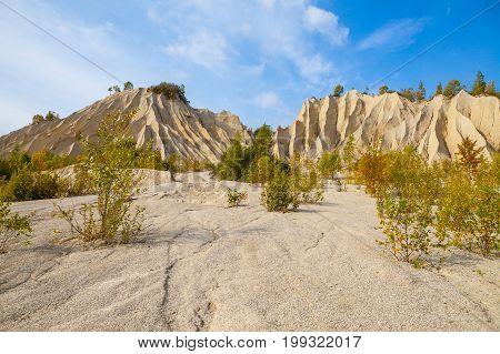 Sand hills of Rummu quarry. Autumn scene, Estonia