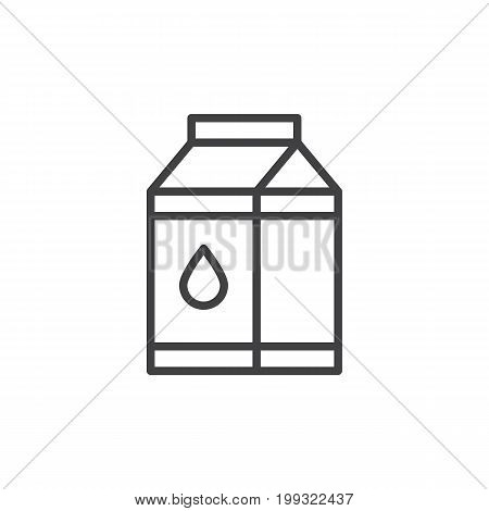 Milk carton box line icon, outline vector sign, linear style pictogram isolated on white. Symbol, logo illustration. Editable stroke. Pixel perfect vector graphics