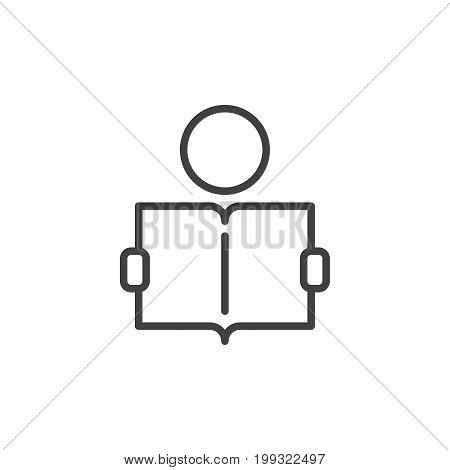 Learning line icon, outline vector sign, linear style pictogram isolated on white. Person reading book symbol, logo illustration. Editable stroke. Pixel perfect vector graphics