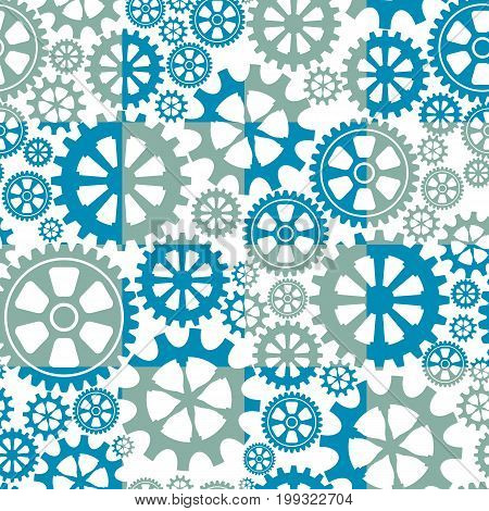 Endless background with gears the wheels. Vector illustration.