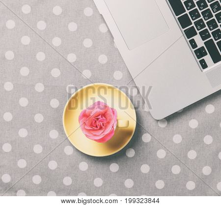 Cup Of Coffee And Laptop Computer