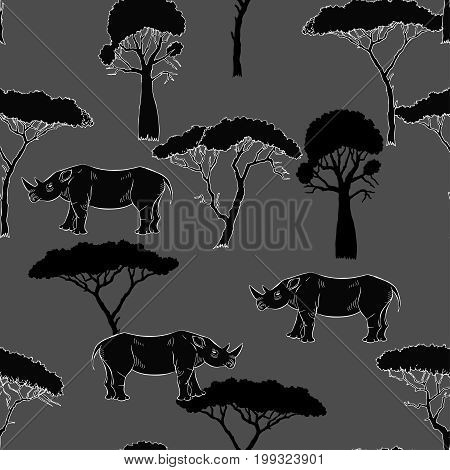 Seamless Pattern with Rhinoceros and savanna trees. Hand drawn sketches. Vector Illustration