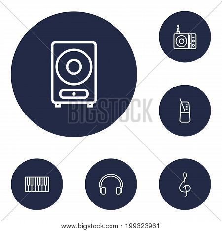 Collection Of Note, Pace, Headphones And Other Elements.  Set Of 6 Music Outline Icons Set.