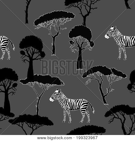 Seamless Pattern with Zebra and savanna trees. Hand drawn sketches. Vector Illustration