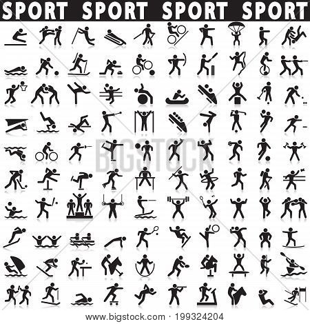 Black sports icons set. Vector shapes athletes.