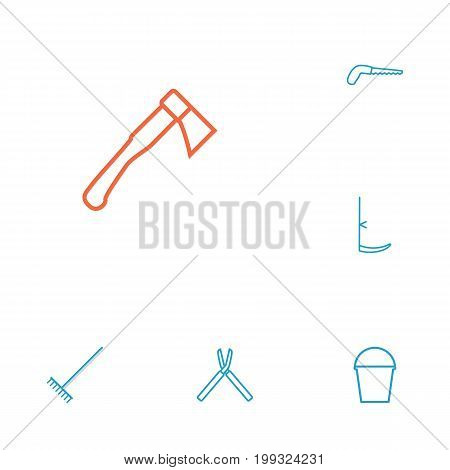 Collection Of Shears, Harrow, Scythe And Other Elements.  Set Of 6 Horticulture Outline Icons Set.