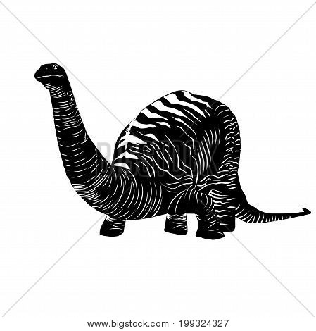 Vector - Apatosaurus Line Drawing Sketch Black