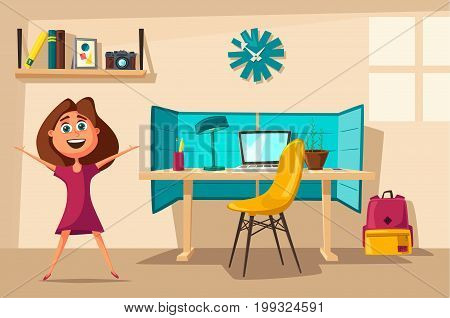 Schoolgirl learns lessons at home. Cartoon vector illustration. Comfortable place. Creative interior. Room of child