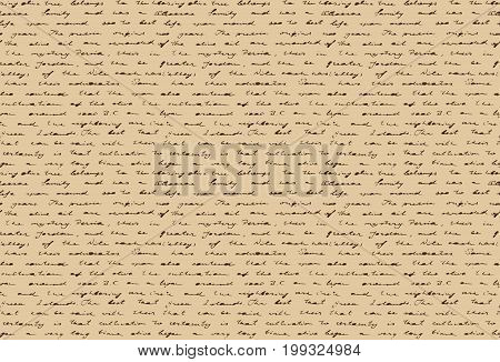 Old handwritten document. Ancient paper with historical hand writing. Seamless pattern. Vector illustration