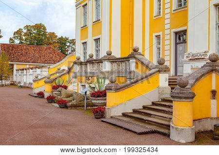 PALMSE, ESTONIA - 22 SEP 2015. Beautiful stairs in front of rich Palmse Manor in Estonia, popular destination for tourists