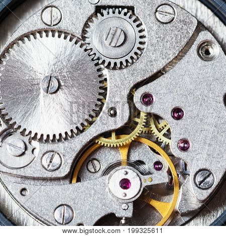 Gears Of Mechanical Wristwatch Close Up