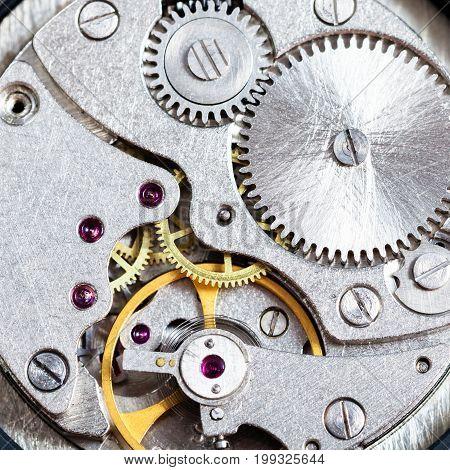 Gears Of Mechanical Clockwork Close Up