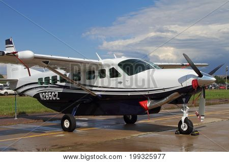 Moscow Region - July 21 2017: Light single-engine turboprop aircraft Cessna GRAND CARAVAN at the International Aviation and Space Salon (MAKS) in Zhukovsky.