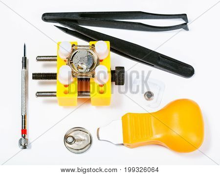 Set Of Tools For Replacing Battery In Watch