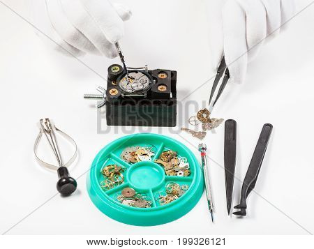 Above View Of Repairing Old Mechanical Wristwatch