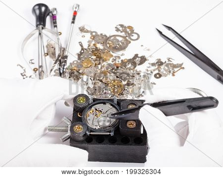 Repair Of Mechanic Wristwatch With Spare Parts