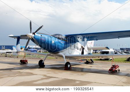 Moscow Region - July 21 2017: Easy multi-purpose pilotaircraft AN-2 TVS-2DT