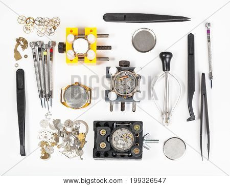 Above View Of Watch Repairing Tools
