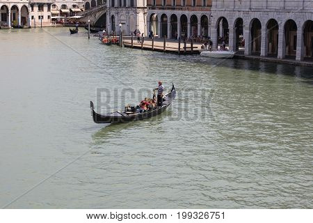 VENICE ITALY - JUNE 07: View of traditional gondola on Canal Grande on June 07 2009