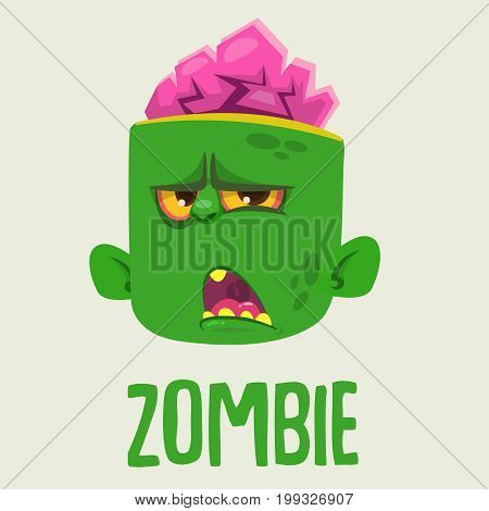 Cute Zombie Head Cartoon Character. Halloween Zombie growling and yelling vector illustration