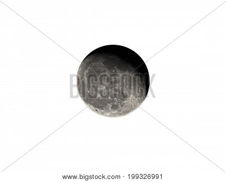 Waning Gibbous moon Isolated on White Background Clipping Path