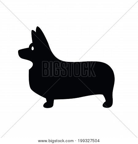 Stylized vector drawing of a silhouette of standing in profile tailless dog Welsh Corgi breed