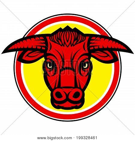 Vector design with head of powerful horned red bull
