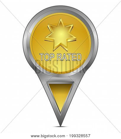 golden Map pointer with Top Rated - 3D illustration