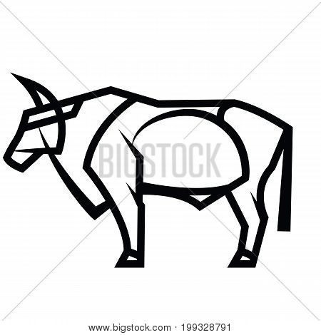 Vector black and white stylized draving powerful horned standing bull