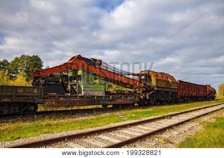 Rusty old railway crane unit. Open air tranes museum, Haapsalu, Estonia