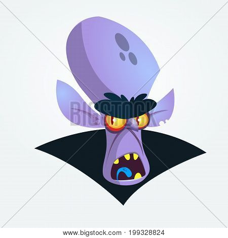 Happy cartoon vampire head yelling. Vector illustration