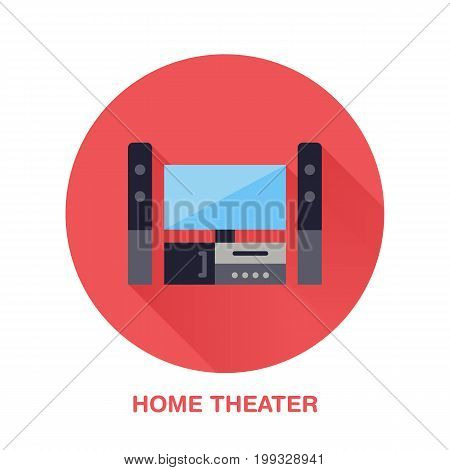Black entertainment system with blank screen flat style icon. Wireless technology, home theater sign. Vector illustration of devices for electronics store.
