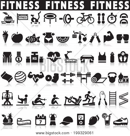 Health and Fitness icons vector set icons