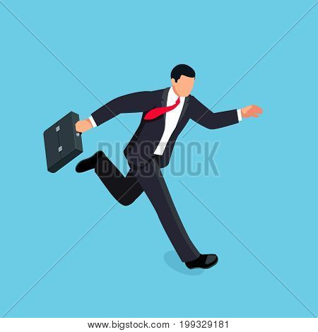 Isometric running businessman isolated on blue background. 3d businessman with a briefcase in his hand is late and in a hurry. Vector illustration.