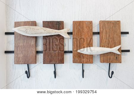 Hanger hook, Wall hanger or wall hook on white wall