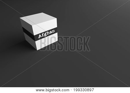 3D RENDERING WORD Afghan WRITTEN ON WHITE CUBE WITH BLACK PLAIN BACKGROUND
