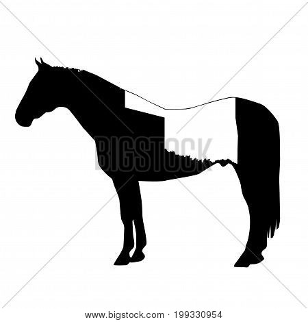 Vector Horse Silhouette With Oklahoma Boundary Patch Illustration