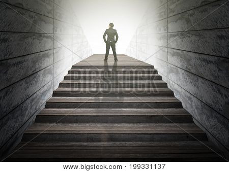 Businessman climbed on top of the stairs Success business and Ambitions concept