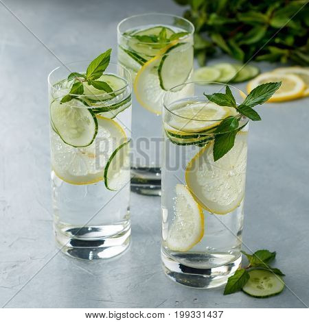 Detox Refreshing Water With Cucumber, Mint And Lemon On Gray Stone Background.