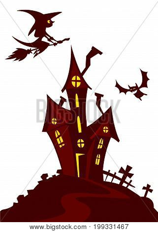 Haunted Mansion - Spooky Haunted House Vector Illustration. Cartoon silhouette of haunted house