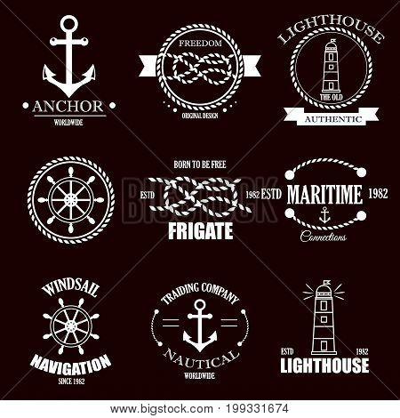 Set of vintage retro nautical badges and labels. Nautical badges anchor sea symbol. Traditional insignia style element nautical badges label design graphic illustration stamp.