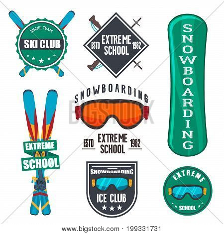 Vintage snowboarding or winter sports logos, badges, emblems design. ski logo. Winter snowboard sport store badge. Snowboarder mountain adventure insignia. Snowboarding extreme label.