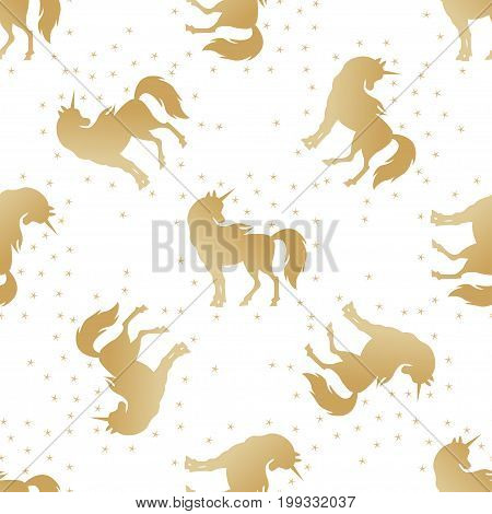 Unicorn silhouette seamless pattern. Golden magic unicorn with stars. Cute magic cartoon fantasy horse animal.  Dream symbol. Design for children. Children's background, for wallpaper, wrapping paper.