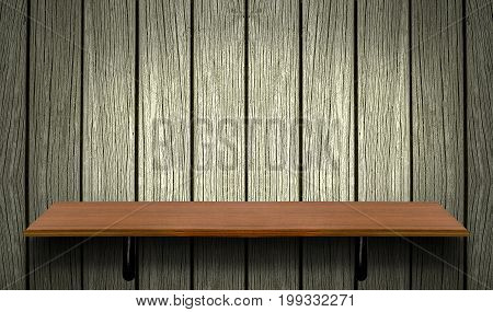 Empty top wooden shelves on wooden wall background.Product presentation concept