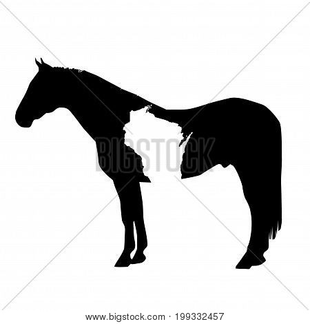 Vector Horse Silhouette with Wisconsin Patch Illustration