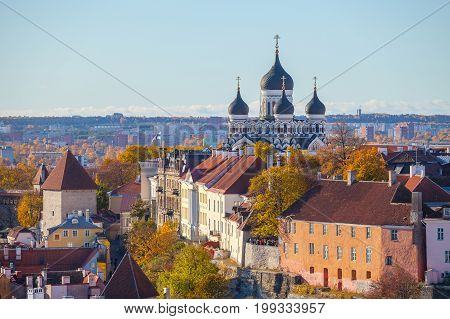 Toompea hill with tower Russian Orthodox Alexander Nevsky Cathedral view from the tower of St. Olaf church, Tallinn, Estonia