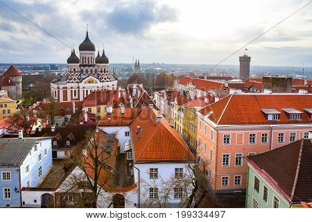 Toompea hill with Russian Orthodox Alexander Nevsky Cathedral and Pikk Herman tower, view from the Dome church, Tallinn, Estonia