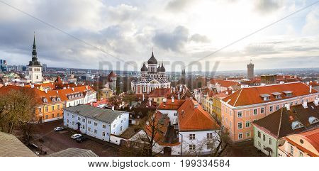 Toompea hill with Russian Orthodox Alexander Nevsky Cathedral, Niguliste church and Pikk Herman tower, panoramic view from the Dome church, Tallinn, Estonia