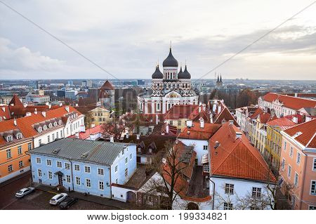Toompea hill with Russian Orthodox Alexander Nevsky Cathedral, view from the Dome church, Tallinn, Estonia.